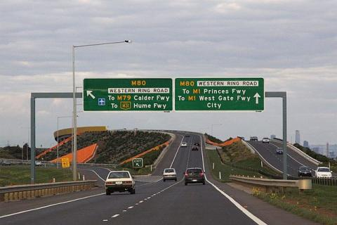 """""""Deer Park Bypass eastbound at Western Ring Road"""" by Marcus Wong - Own work. Licensed under Creative Commons Attribution-Share Alike 3.0 via Wikimedia Commons - http://commons.wikimedia.org/wiki/File:Deer_Park_Bypass_eastbound_at_Western_Ring_Road.jpg#mediaviewer/File:Deer_Park_Bypass_eastbound_at_Western_Ring_Road.jpg"""